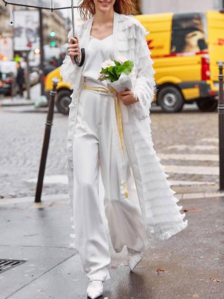 Milanoo Longline Duster Jacket Fringe Women Maxi Rain Coat