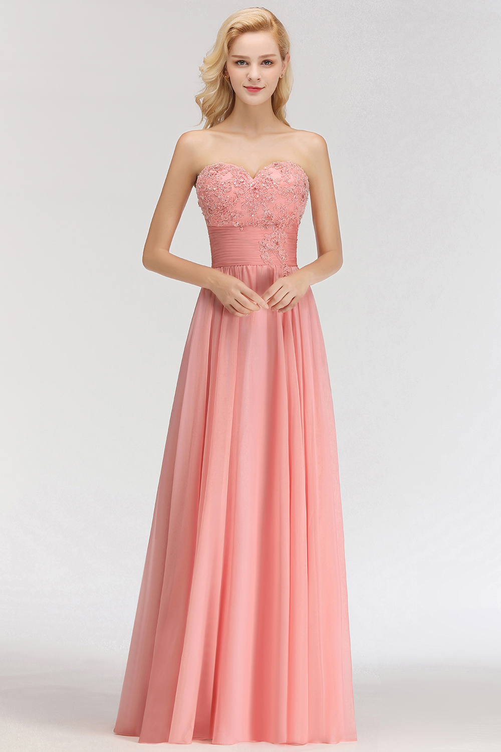 BMbridal Elegant Sweetheart Ruffle Pink Bridesmaid Dresses with Appliques