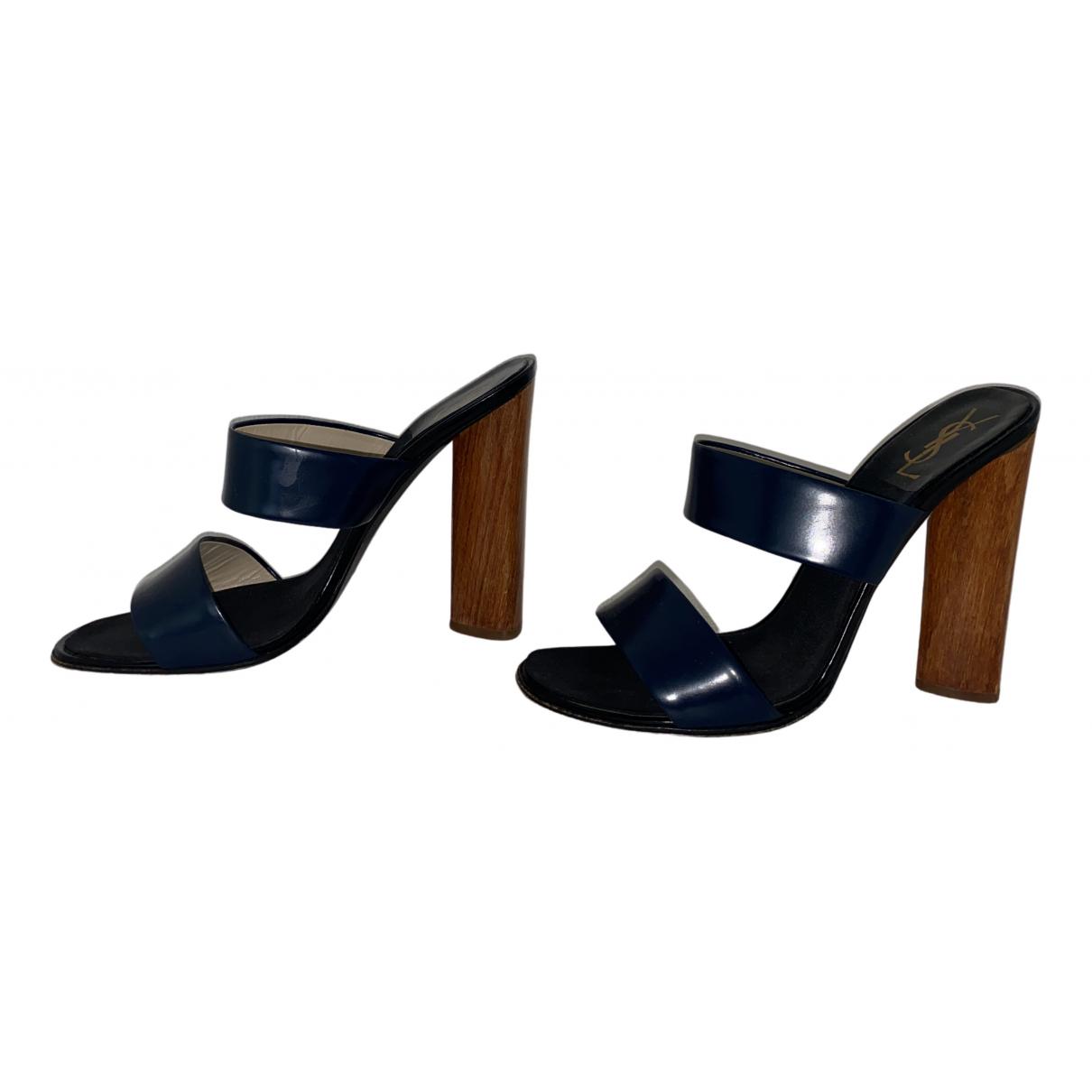 Yves Saint Laurent N Navy Leather Sandals for Women 40 EU