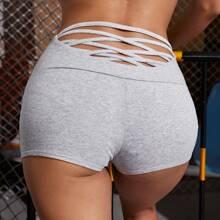 Crisscross Back Wide Waistband Biker Shorts