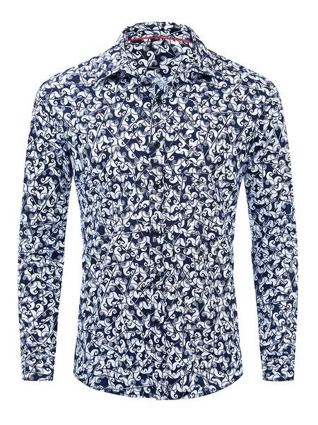 Milanoo Camisa casual para hombre Camisas con cuello vuelto azul oscuro Camisas estampadas extragrandes