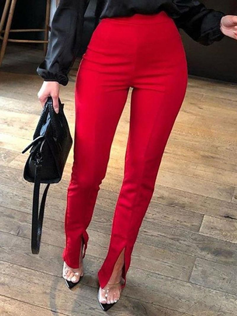 Ericdress Plain Skinny Split High Waist Casual Pants