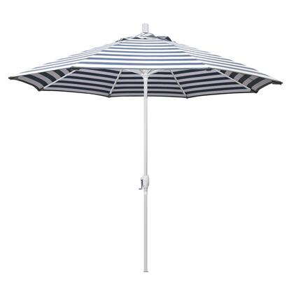 GSPT908170-F96 9' Pacific Trail Series Patio Umbrella With Matted White Aluminum Pole Aluminum RibsPush Button Tilt Crank Lift With Olefin Navy White