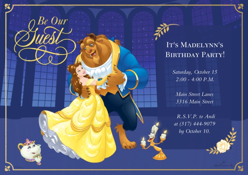 Kids Birthday Party Invites 5x7 Cards, Premium Cardstock 120lb with Scalloped Corners, Card & Stationery -Be Our Guest - Beauty and the Beast
