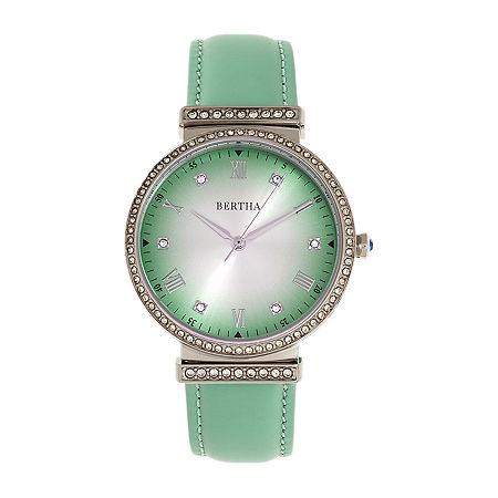 Bertha Womens Green Leather Strap Watch-Bthbr9302, One Size , No Color Family