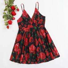 Plus Surplice Neck Floral Cami Dress