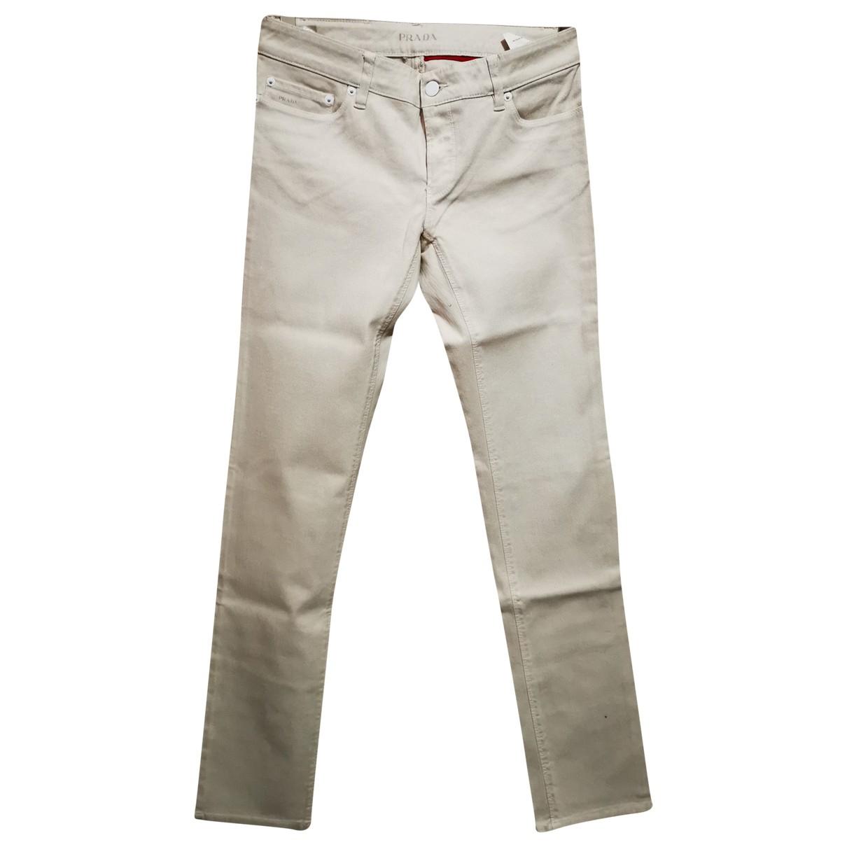 Prada N Ecru Cotton - elasthane Jeans for Women 27 US