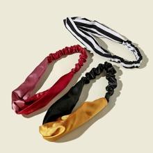 3 Stuecke Stirnband mit buntem Streifen Muster