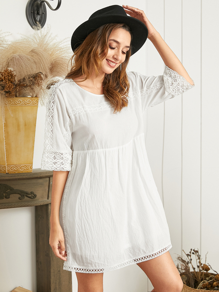 YOINS White Lace Hollow Design Round Neck Half Sleeves Dress
