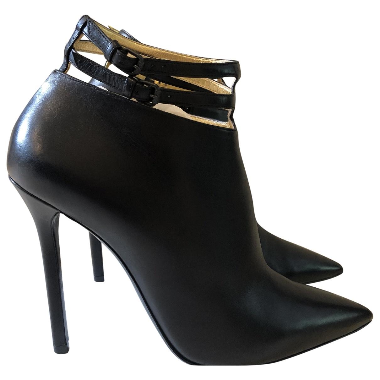 Bottega Veneta \N Black Leather Ankle boots for Women 41 EU