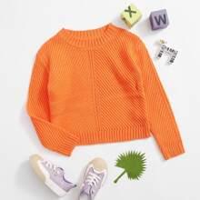Girls Neon Orange Ribbed Knit Sweater