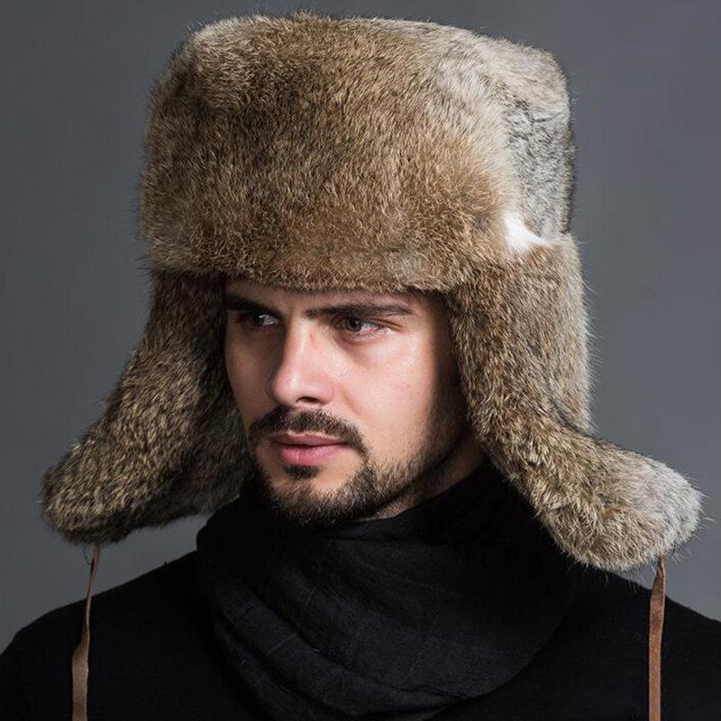 Men Winter Warm Thick Warm Ears Fur Imitation Rabbit Hair Lei Feng Cap Outdoor Casual Hat