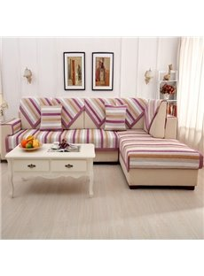 Modern Simple Chenille Purple Strips Print Four Seasons Slip Resistant Sofa Covers