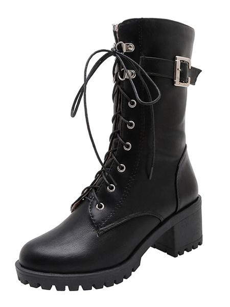 Milanoo Women Marten Boots Mahogany Buckle Lace Up 2.4 Block Heel Boots