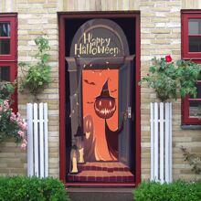 2 Stuecke Tuer Aufkleber mit Halloween Muster