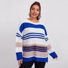 Pullover mit sehr tief angesetzter Schulterpartie, Schlitz und Farbblock