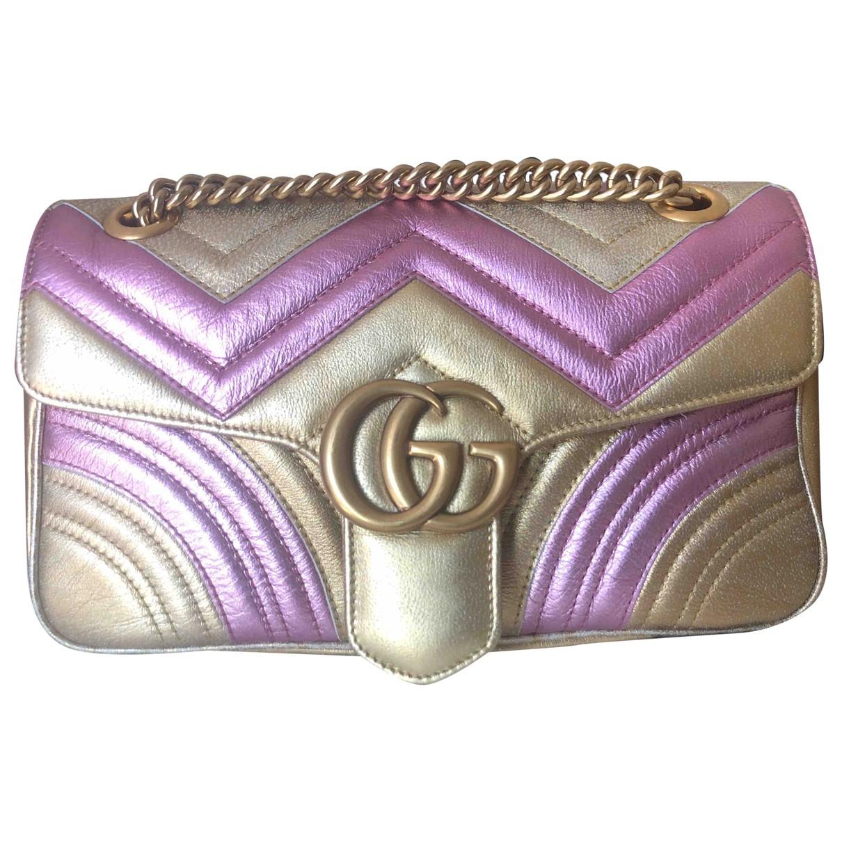 Gucci - Sac a main Marmont pour femme en cuir - metallise