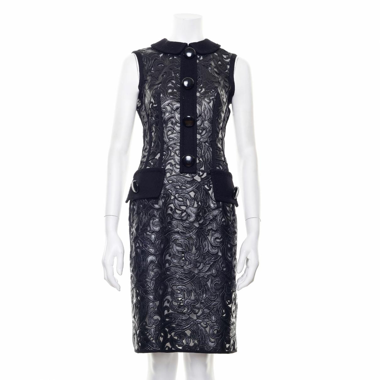 Vestido en Cuero Negro Louis Vuitton