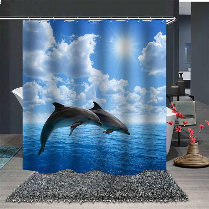 Two Dolphins over The Sea 3D Waterproof and Mildewproof Animal Polyester Shower Curtains