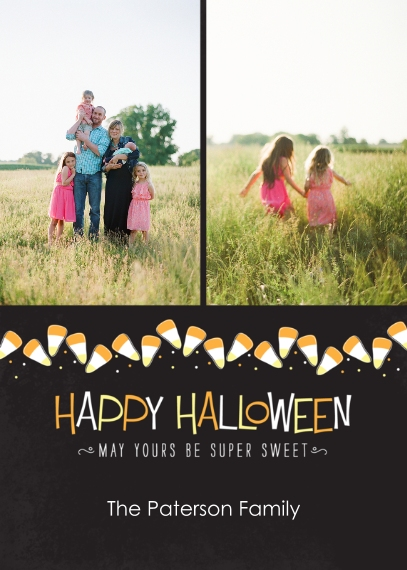 Halloween Photo Cards 5x7 Cards, Premium Cardstock 120lb with Elegant Corners, Card & Stationery -Candy Corn Banner