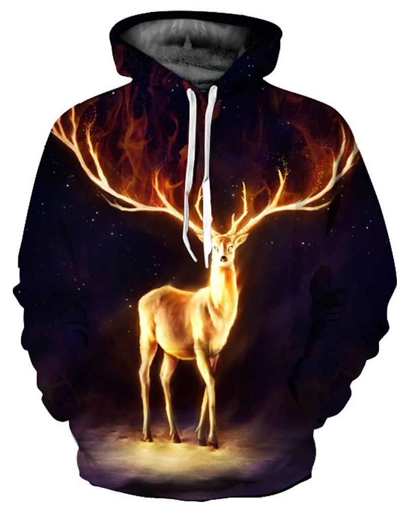 3D Golden Deer with Antlers Pattern Men Sweater Long Sleeve Cool Hoodies