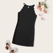 Maedchen Kleid mit Bogenkante und Neckholder