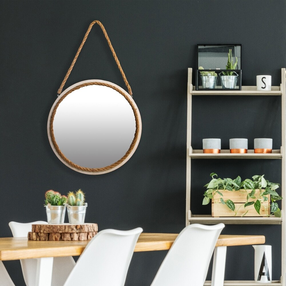 16 Inch Distressed Round Rope Wall Mirror (White - White)