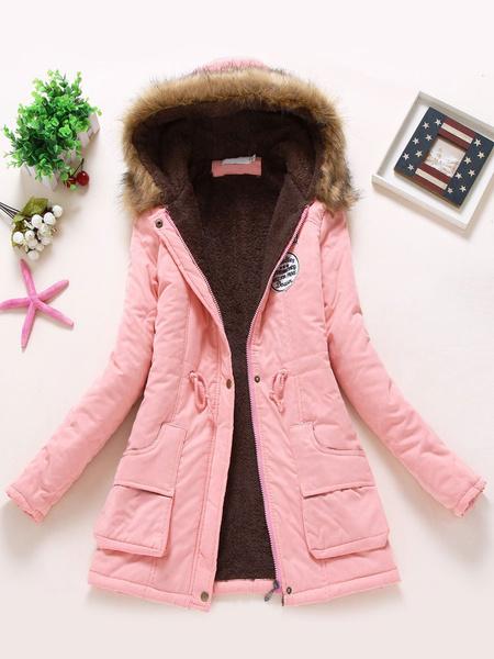 Milanoo Women Parka Jacket Faux Fur Collar Pockets Drawstring Hooded Green Overcoat