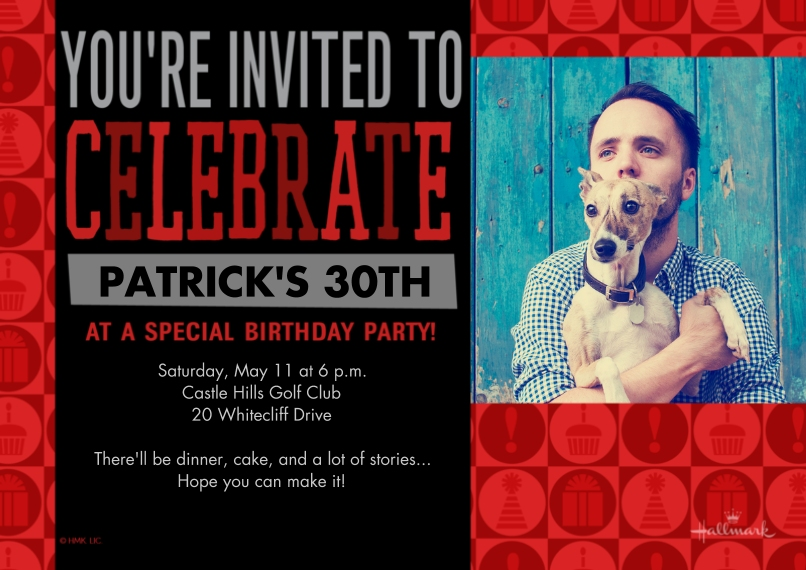 Birthday Party Invites 5x7 Cards, Standard Cardstock 85lb, Card & Stationery -Red & Black Celebration Icons