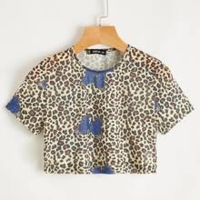 Butterfly & Leopard Sheer Crop Top