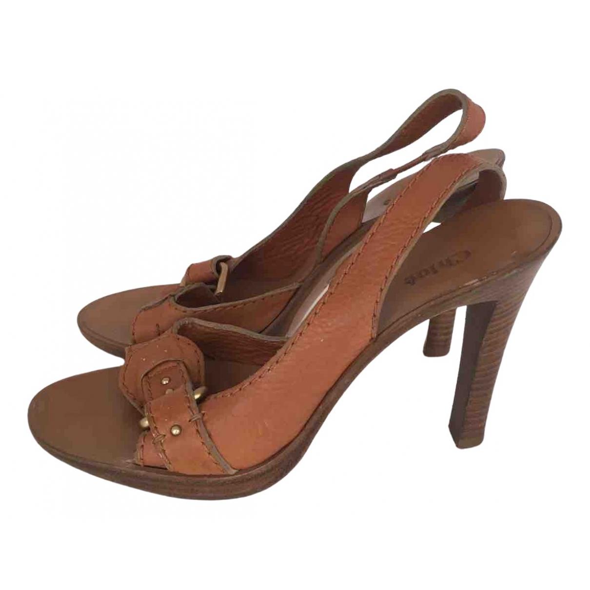 Chloé N Camel Leather Sandals for Women 39.5 EU
