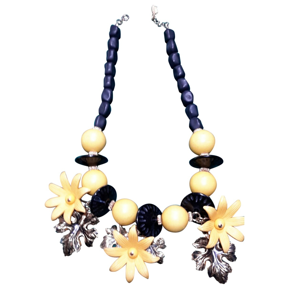 Non Signé / Unsigned Motifs Floraux Yellow Metal necklace for Women \N