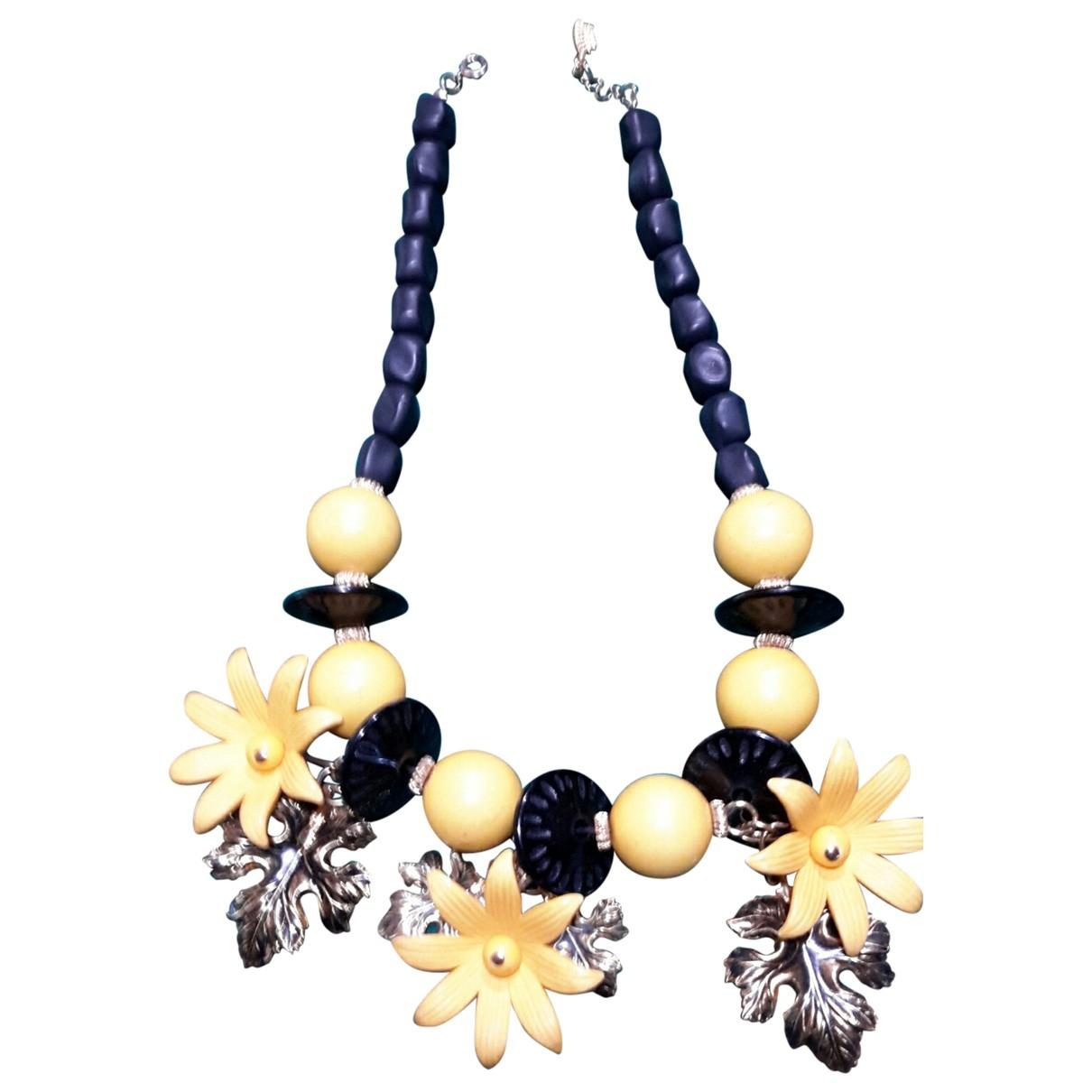 - Collier Motifs Floraux pour femme en metal - jaune