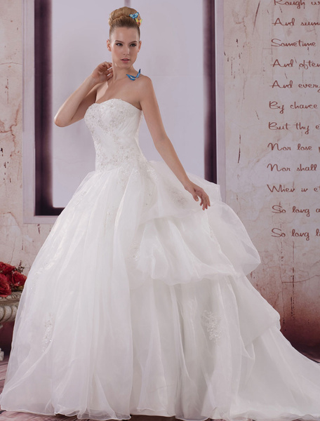 Milanoo Vestido de novia escote palabra de honor aplicacion