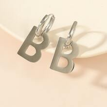 Letter Round Drop Earrings
