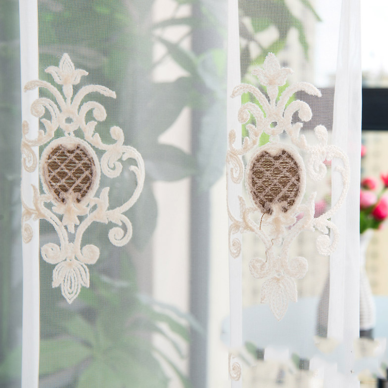 Embroidery Linen White Solid Sheer Curtains 2 Panels Grommet Top