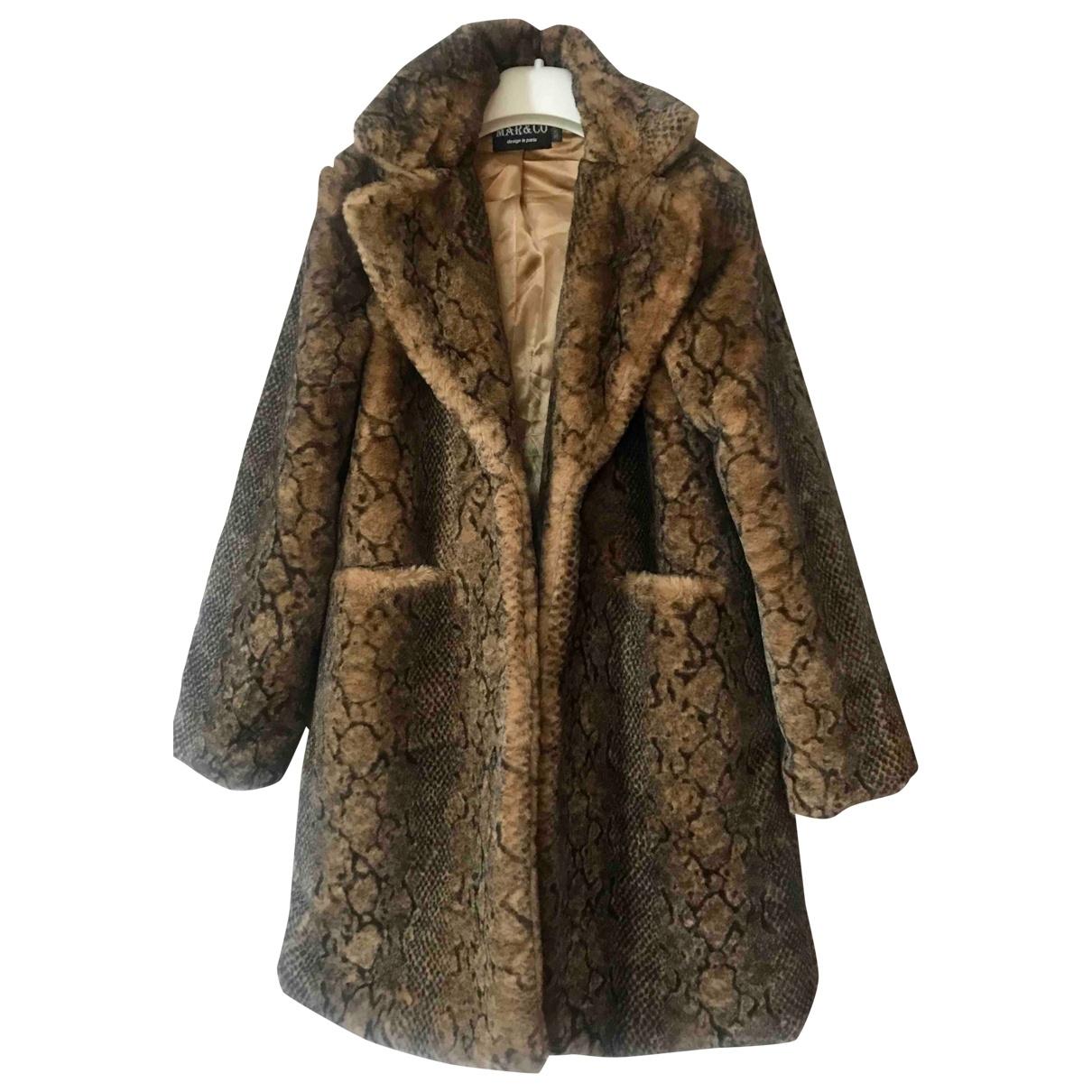 Non Signé / Unsigned Oversize Brown Faux fur coat for Women 36 FR