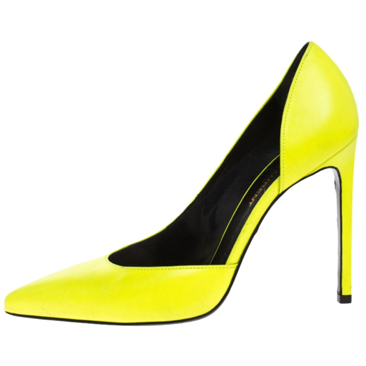 Saint Laurent - Escarpins Dorsay pour femme en cuir - jaune