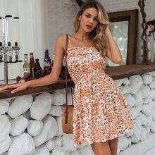 Cami Kleid mit Rueschenbesatz, geraffter Taille und Leopard Muster