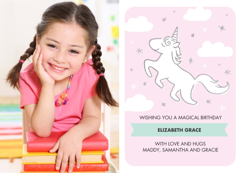 Kids Birthday Party 5x7 Cards, Premium Cardstock 120lb with Scalloped Corners, Card & Stationery -Birthday Invite Unicorn