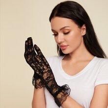 1 par guantes con encaje floral