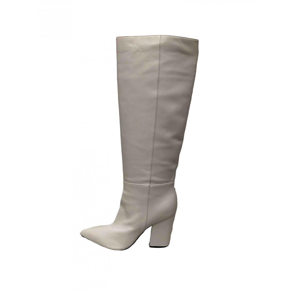 Sergio Rossi - Bottes   pour femme en cuir - blanc