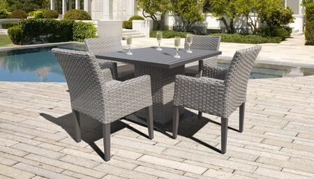 Monterey Collection MONTEREY-SQUARE-KIT-4DCC-BEIGE Patio Dining Set with 1 Table   4 Arm Chairs - 2 Sets of Beige