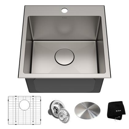 KHT301-18 Standart PRO 18 x 18 Drop-In Topmount 16 Gauge Single Bowl 1-Hole Stainless Steel Kitchen