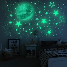 Kids Planet & Star Print Luminous Wall Sticker