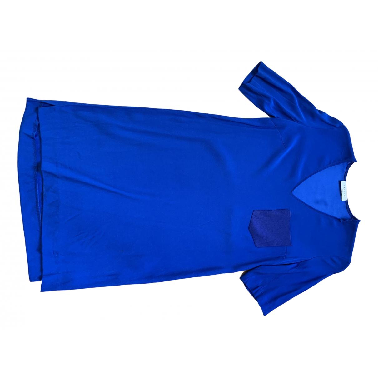 Sandro \N Kleid in  Blau Seide