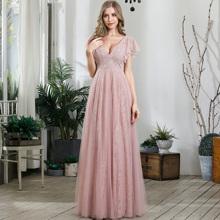 Kleid mit Flatteraermeln und Spitze
