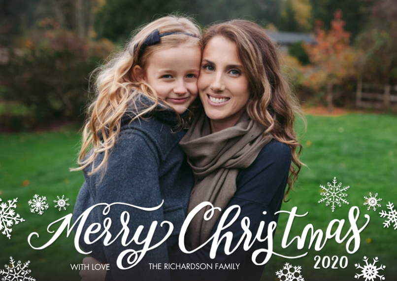 Christmas Photo Cards 5x7 Cards, Premium Cardstock 120lb with Elegant Corners, Card & Stationery -Christmas 2020 Snowflakes by Tumbalina