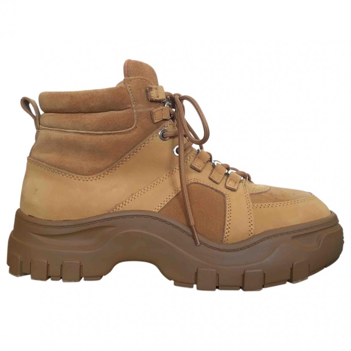 - Boots   pour femme en toile - camel