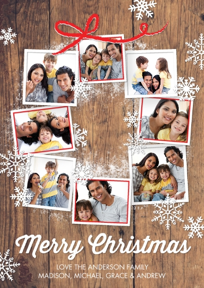 Christmas Photo Cards 5x7 Cards, Premium Cardstock 120lb, Card & Stationery -Christmas Snowflakes Photo Wreath